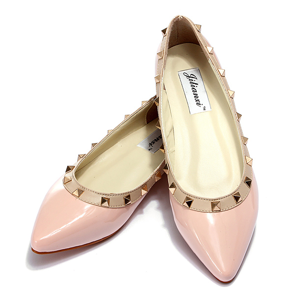 Pointed Toe Rivet Studded Metal Comfy Slip Loafers Flat Shoes