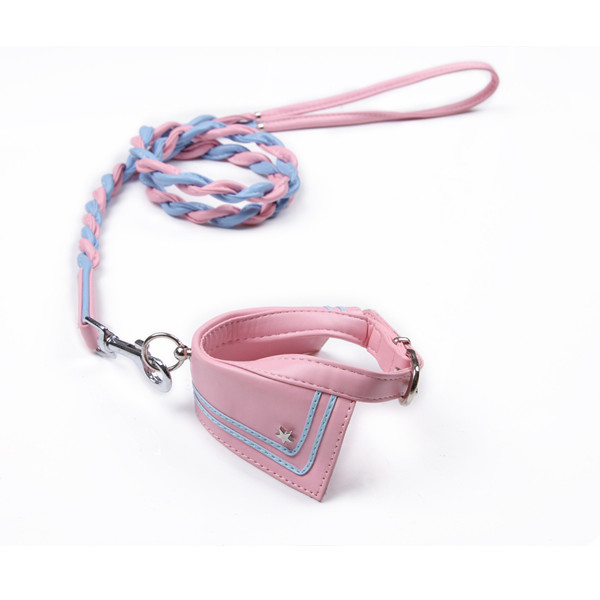 M PU Leather Pet Dog Training Walking Rope Lead & Collars Set