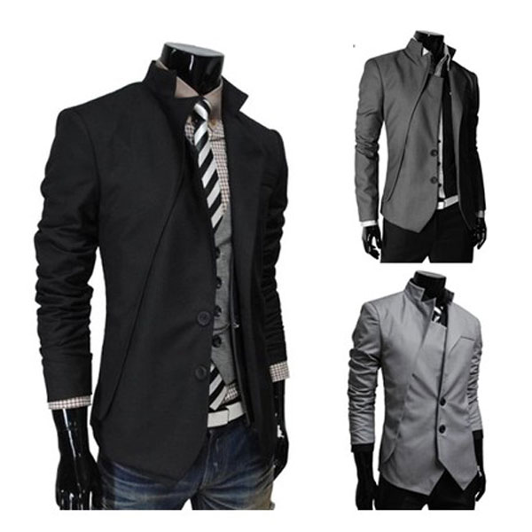 Fashion Men's Slim Fit Casual Button Suit Coat Jacket Business Blazers