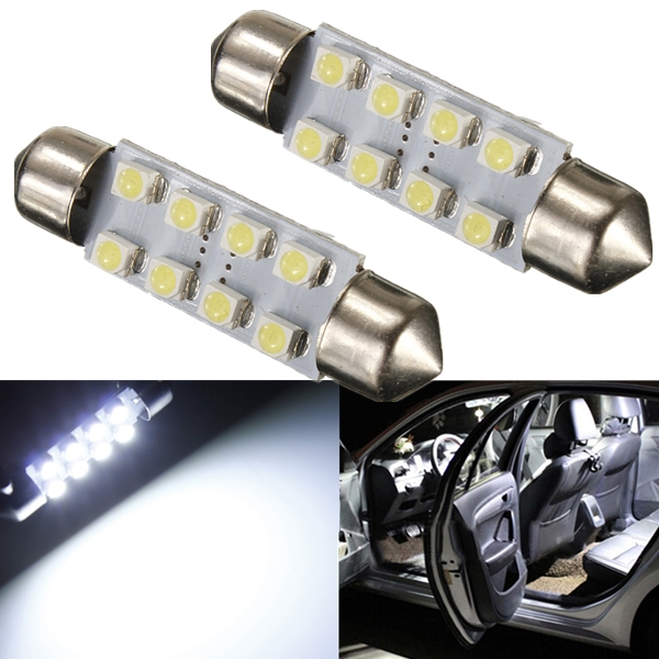 White 41MM 1210 SMD Festoon Dome Map Interior LED Light Lamp Roof Bulb