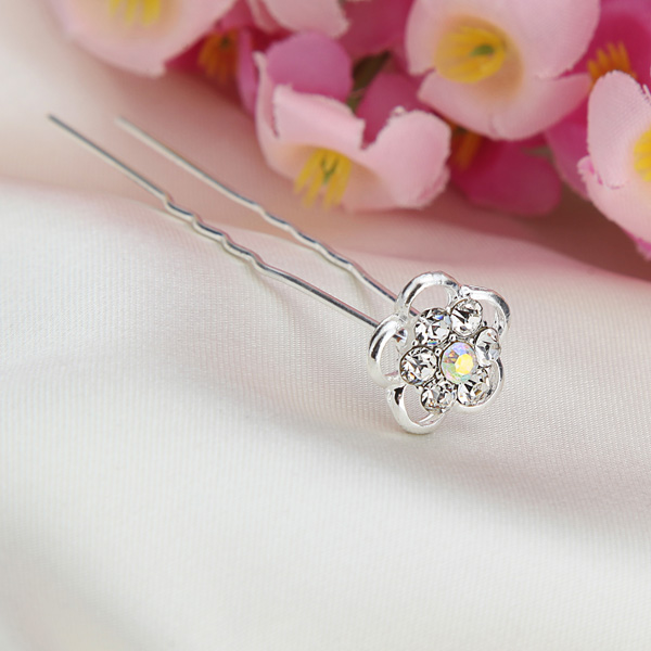 Bridal Wedding Hair Accessories Flower Rhinestone U-clip Hairpin