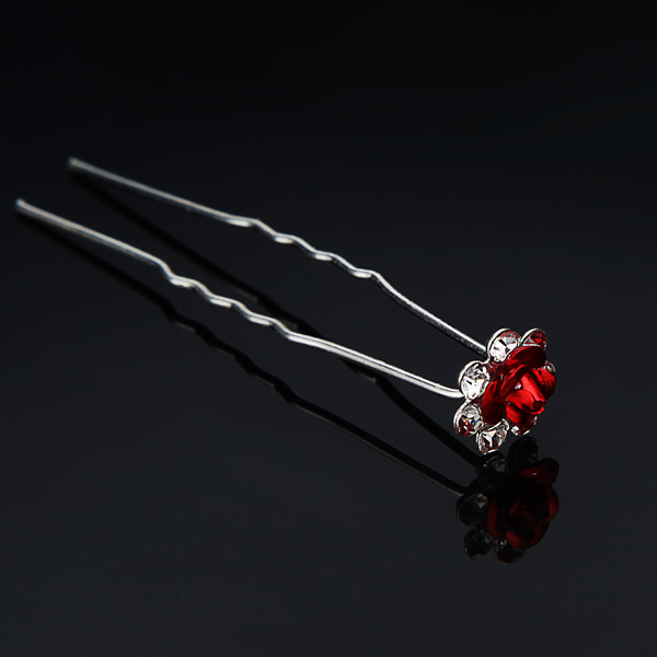 Bridal Head Pieces Hair Accessories U-clip Rhinestone Flower Hairpin