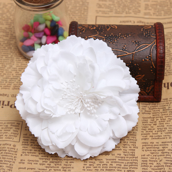 Fabric Peony Flower Hair clips Corsage Brooch Bridal Headpieces