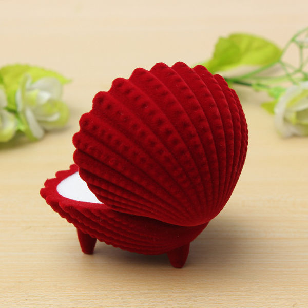 Creative Shell Shape Velvet Ring Earrings Pendant Gift Box Jewelry Case