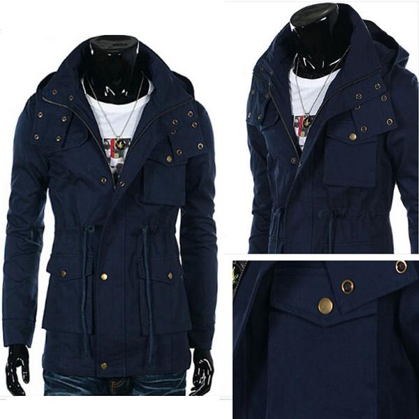 Mens WindBreaker Casual Zipper Fashion Multiple Button Jacket Coat