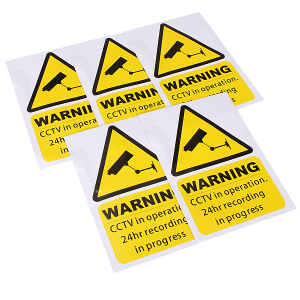 5PCS Yellow Window Warning Stickers Signs Decal CCTV In Operation