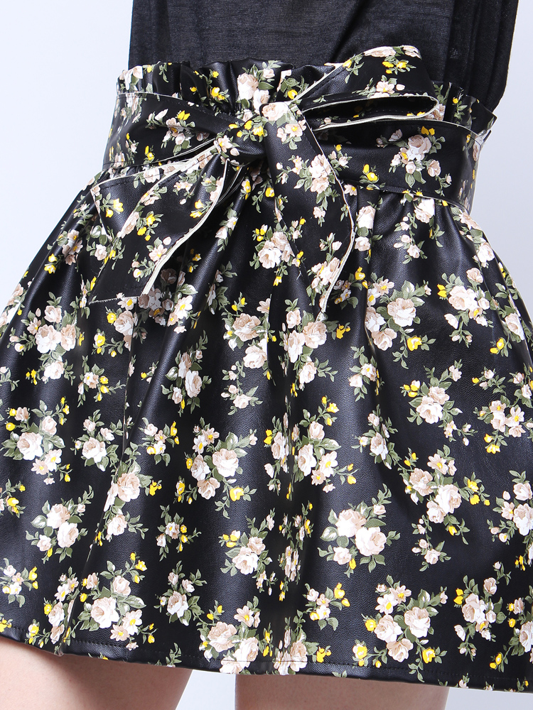 Retro Fashion Hight Waist Floral PU Mini Pleated A Line Skirt