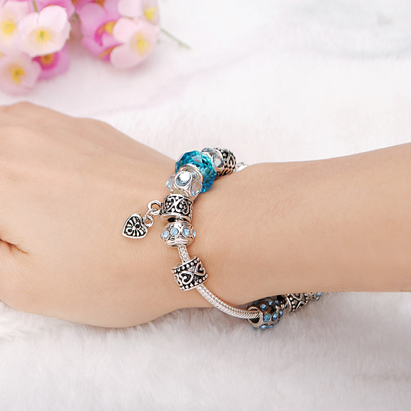 Blue Murano Glass Beads Crystal Bracelet 925 Silver Plated