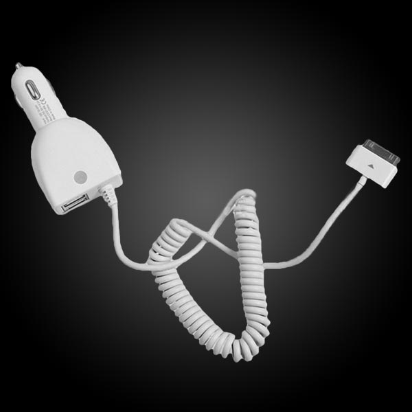 CC37-IPA3 5.0V/4600mA White Dual USB Car Charger For Mobile Phone