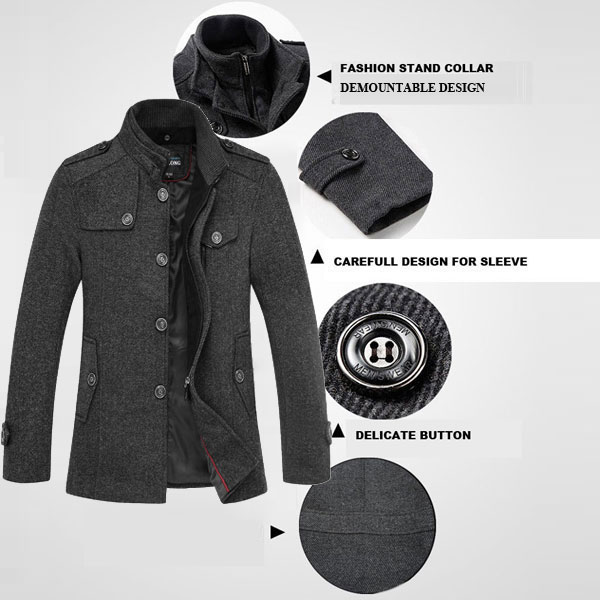 Mens Knitted Stand Collar Wool Blend Tweed Coats Long Jackets