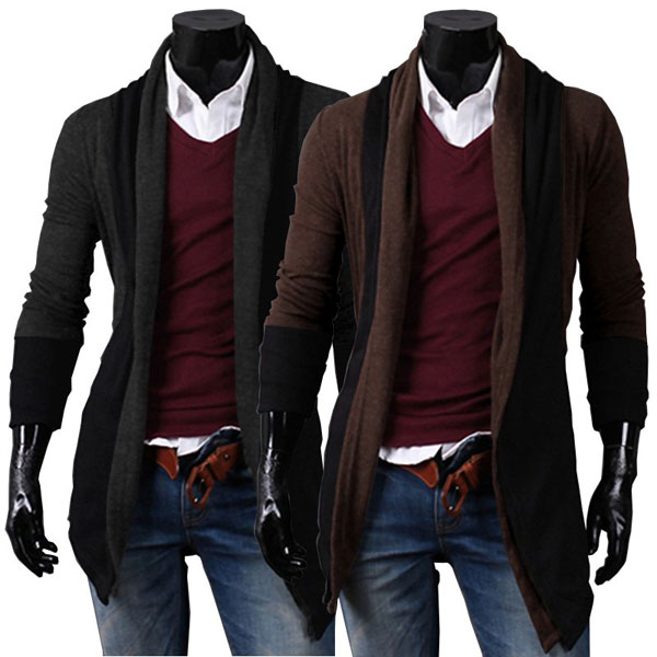 Mens Long Tails No Buckle Design Leisure Sweater Cardigan
