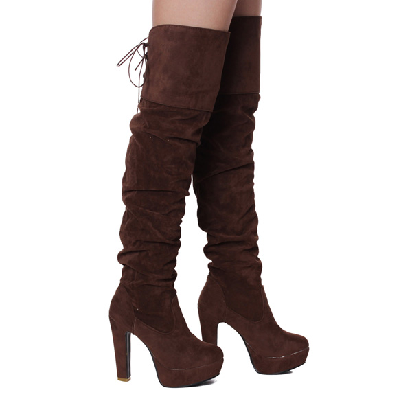 Women Lace Up Winter High Heel Platform Over the Knee Boots