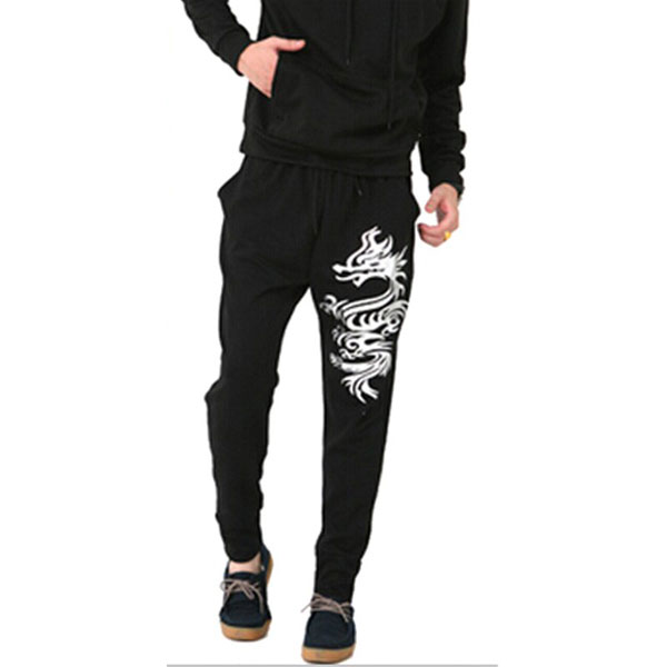 Mens Dragon Printed Cool Harem Sports Pants Cotton Truck Pants