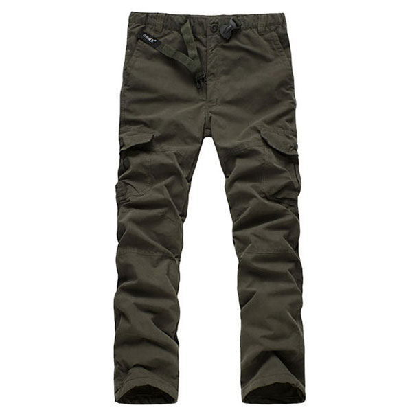 Mens Multi Pockets Thick Polar Fleece Drawstring Cargo Pants