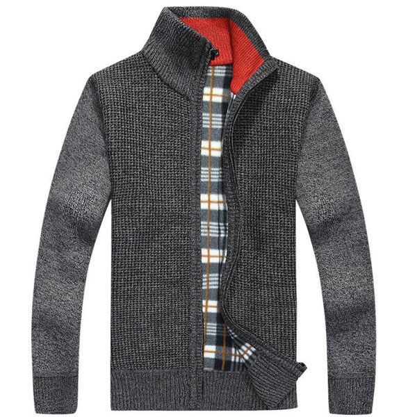 Men's Knitted Wool Blend Thick Polar Fleece Lining Sweater Cardigans