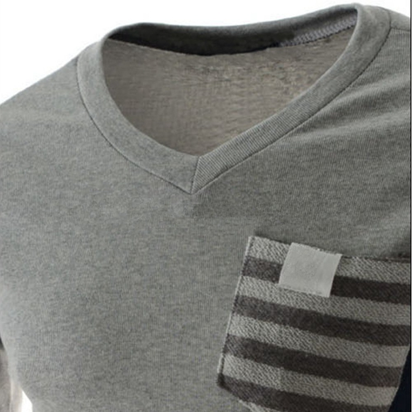 Mens Fitness V-neck Striped Double Pocket Stitching Long Sleeve T-shirt