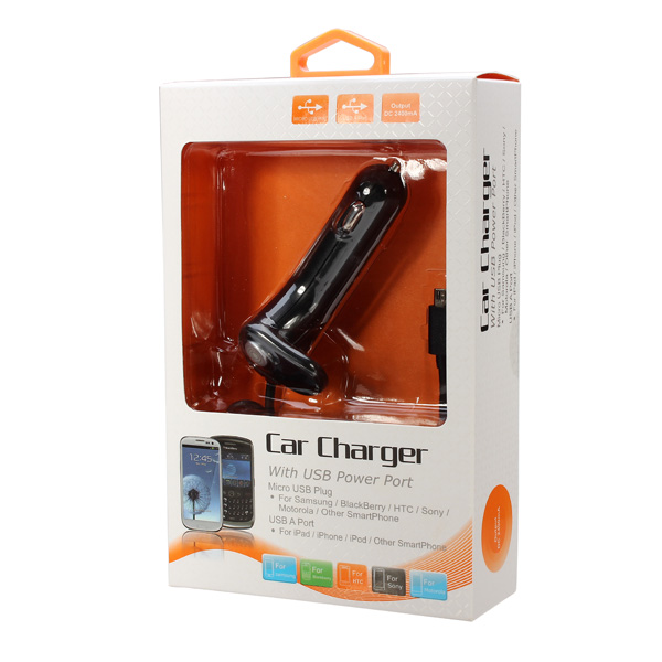 5.0V/2400mA Car Charger For Samsung With USB Interface Electric Line