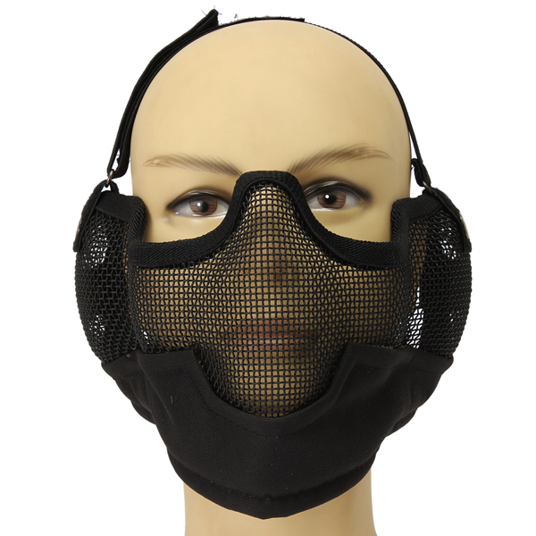 Steel Paintball Airsoft CS War Game Half Face Mesh Protection Mask