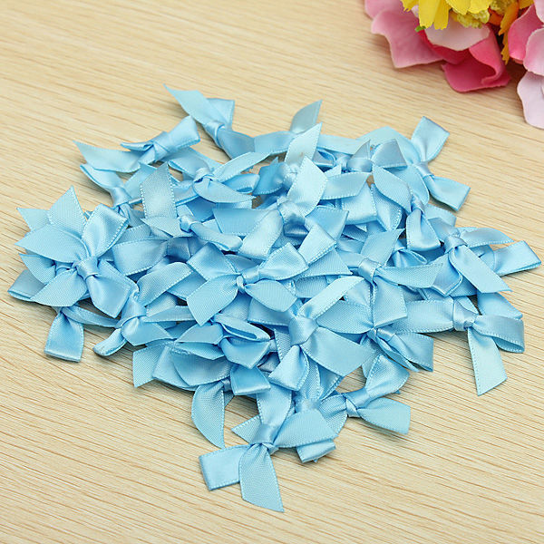 50Pcs 7mm Satin Ribbon Bows Scrapbooking For DIY Decoration Gifts