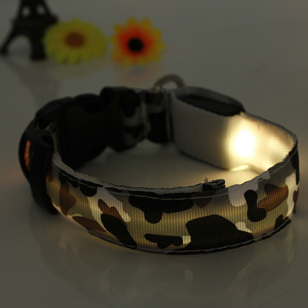 S Pet Dog LED Collar Nylon Safety Light Up Flashing Collar