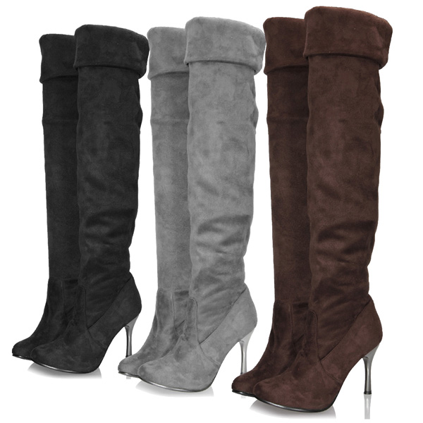 Women Over Knee Suede Stretch High Heel Boots Leisure Shoes