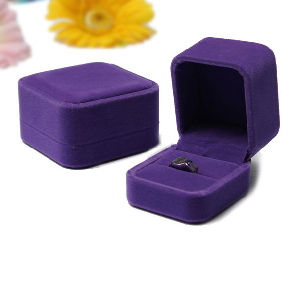 Purple Velvet Jewelry Display Box Ring Necklace Bracelet Case