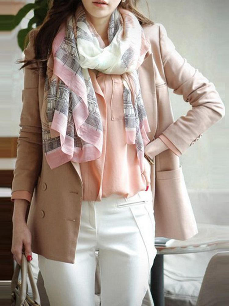 Women Elegant Pink Print Long Silk Cotton Blend Soft Scarf Shawls