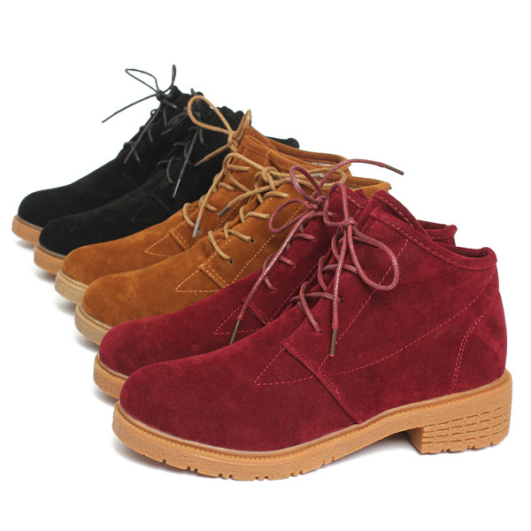 cb963dfe2d8 women fall winter ankle boot suede lace up flat heel round toe shoes ...
