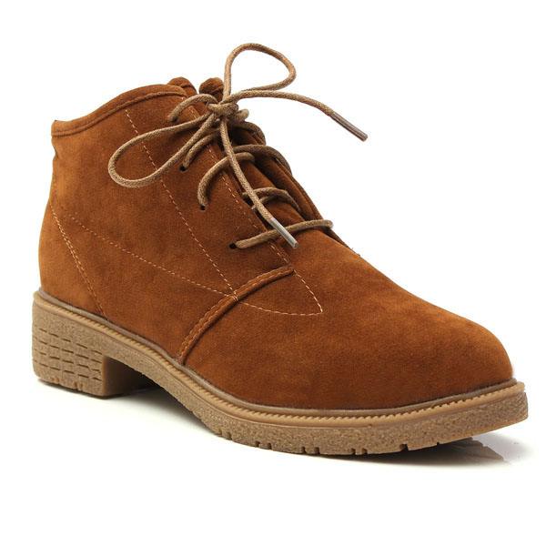 Women Fall Winter Ankle Boot Suede Lace Up Flat Heel Round Toe Shoes