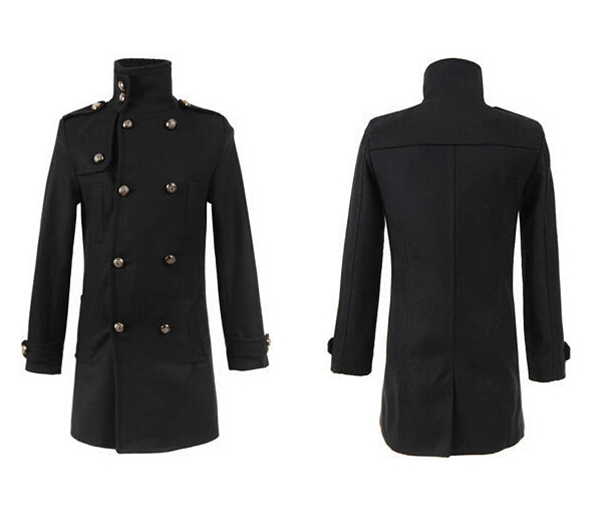 Style Trench Coat Men Long Double Breasted Wool Jackets
