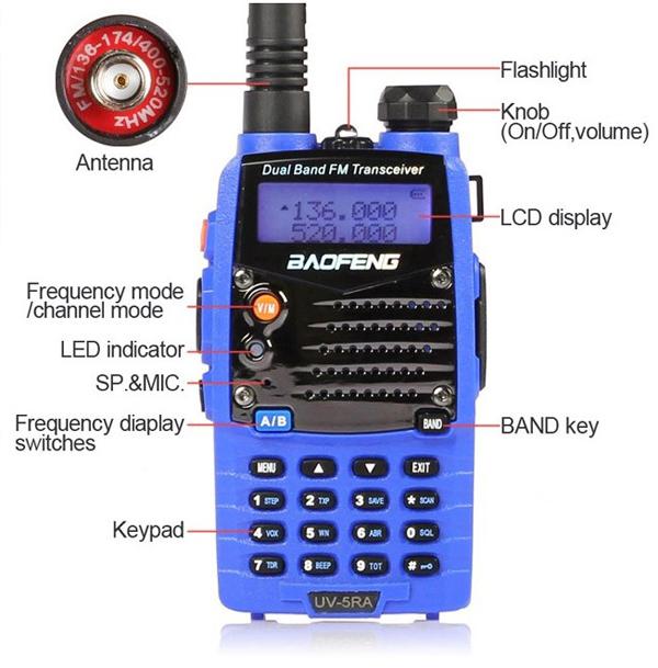 Baofeng UV-5RA Blue Dual Band Handheld Transceiver Radio Walkie Talkie