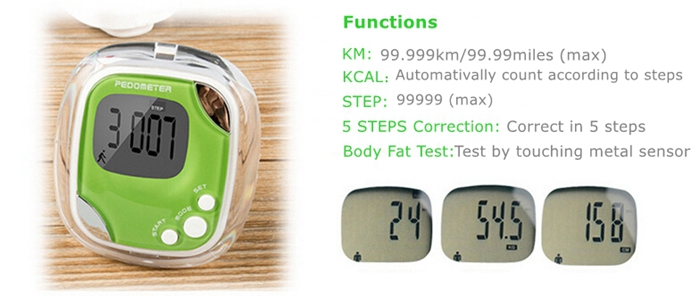 LCD Calorie Counter Step Pedometer Body Fat Sport Pedometer