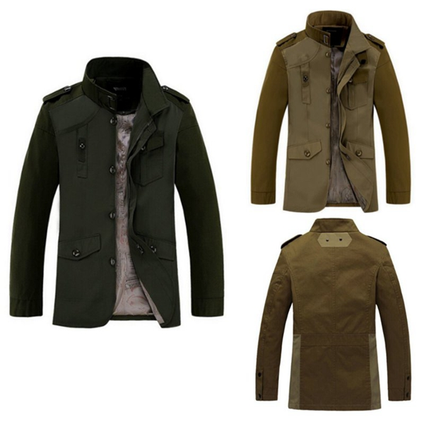 Army Green Jacket 95% Cotton Outwear Fashion Men's Clothing