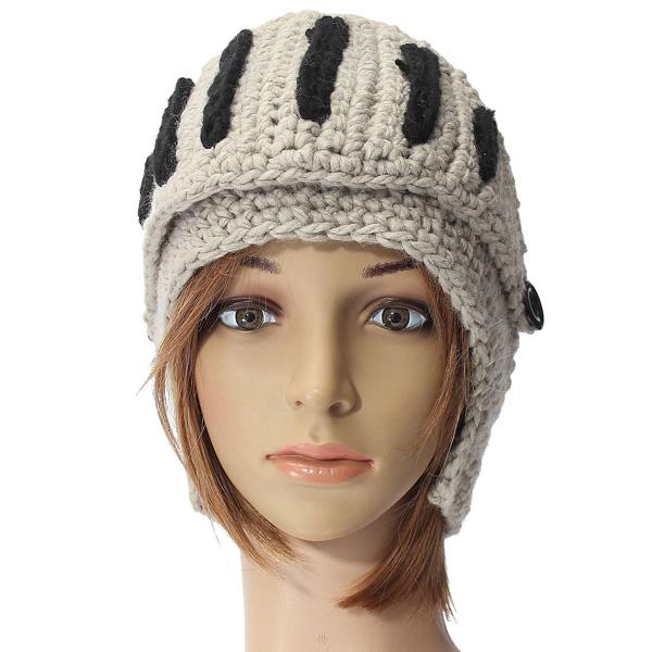 Unisex Winter Warm Wool Stripes Knit Ski Riding Knight Helmet Hat Cap