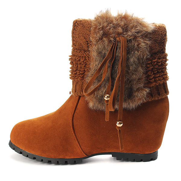 Women Warm Faux Fur Tassel Knit Hidden Wedge Cleated Sole Boots