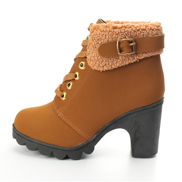 e6639e94f72 womens faux fur lace up ankle boots high chunky heels shoes at Banggood