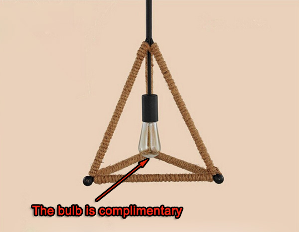 Triangle Rope Chandelier Industrial Pendant Ceiling Fixture Light 220V