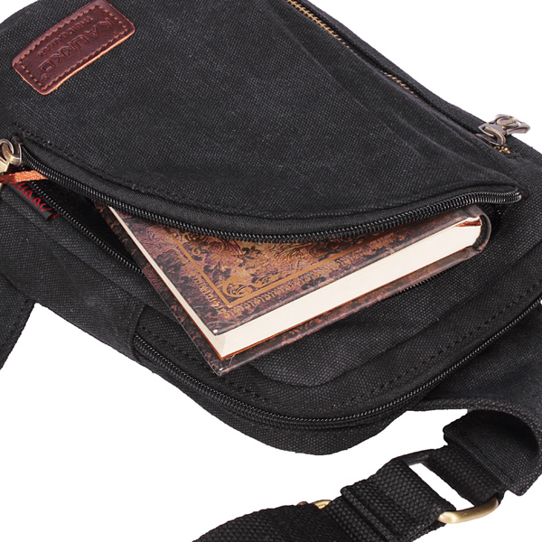 KAUKKO Mens Womens Casual Canvas Shoulder Bags Chest Pack Messenger Bag