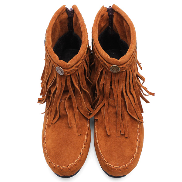 Women Height Increasing Tassels Flat Ankle Short Boots