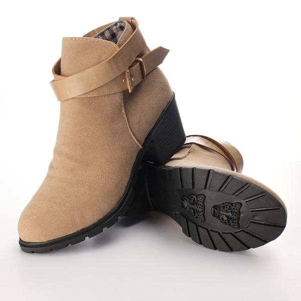 Women Buckle Strap Faux Suede Block Mid Heel Ankle Boot