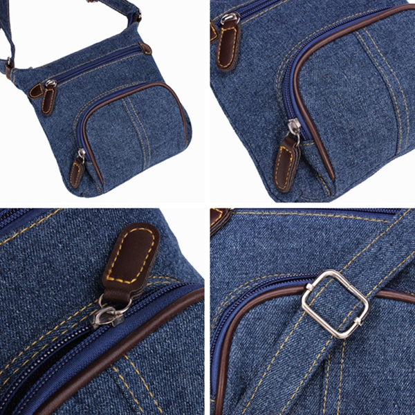 Women Retro Small Blue Denim Satchels Shoulder Messenger Bags Crossbody Bag