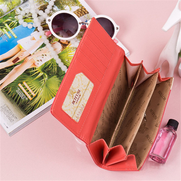 Women PU Leather Eiffel Tower Long Clutch Card Holder Colorful Purse