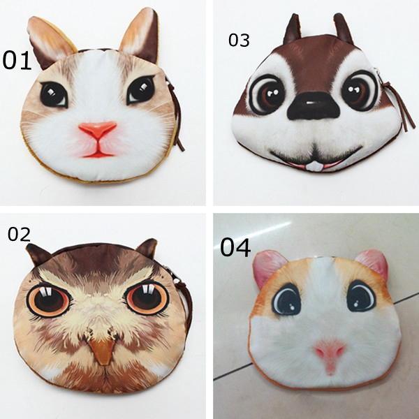 Cute Animal Face Women Zip Case Coin Purse Makeup Handbag Clutch