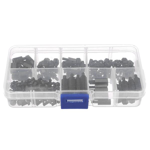 180pcs M3 Nylon Black M-F Hex Spacers Screw Nut Assortment Kit