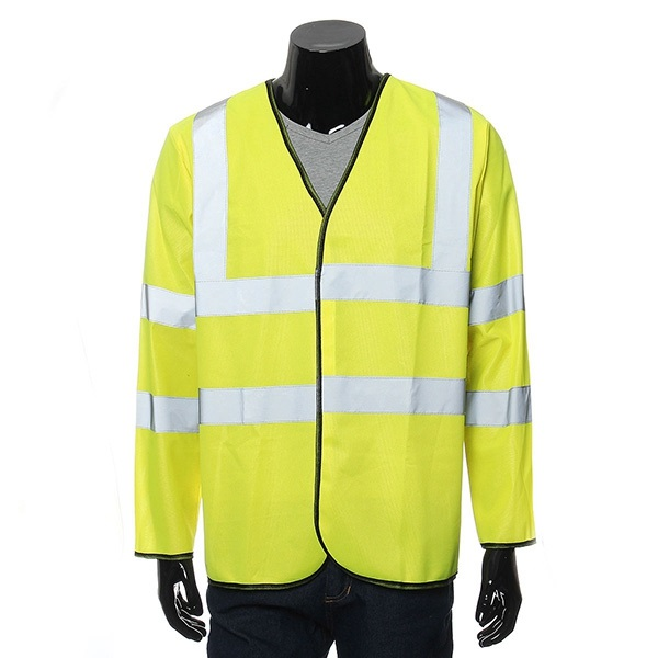Mens Long Sleeve Safety Vest Waistcoat Jacket With Reflective Stripes