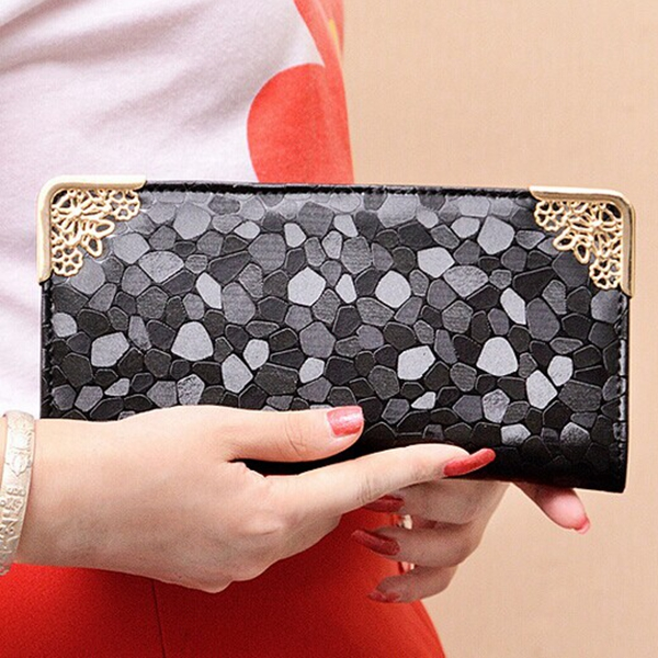 Women Stylish Stone Pattern Long Purse Zip Wallet