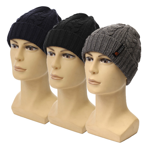 Men Crochet Braided Knit Winter Warm Ski Beanie Wool Cuff Hats Caps