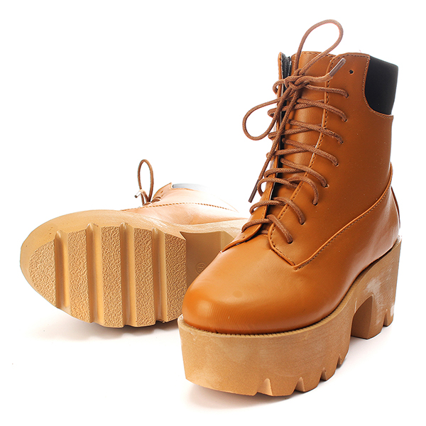 Lady Chunky Heel Platform Cut out StrappyBoots