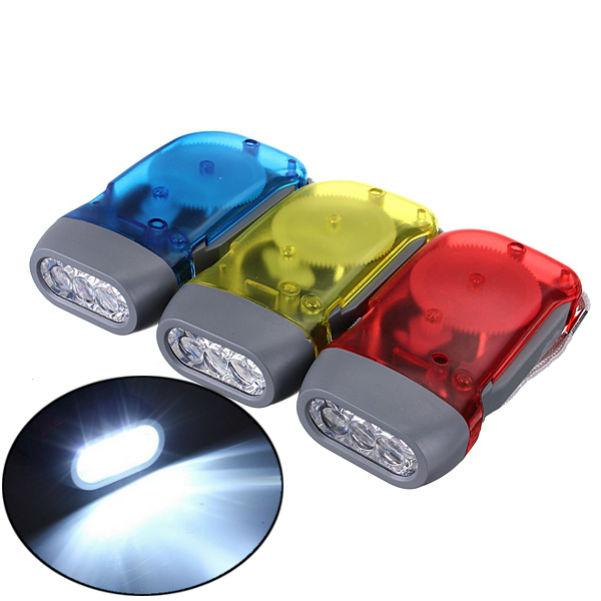 3 LED Dynamo Wind Up Hand-pressing Crank Flashlight Accessories