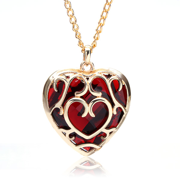 jewelry glazed her for heart gold gifts pendant rose pendants red